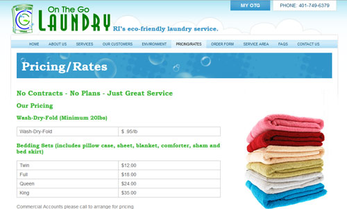 On the Go Laundry Pricing Page