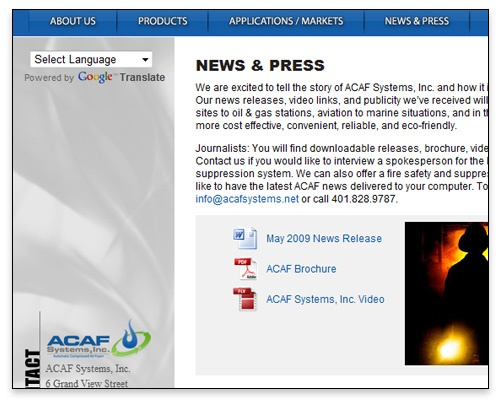 ACAF Systems, Inc. - News & Press Page Design
