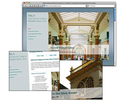 M&A Architectural Preservation, Inc. - Homepage Design