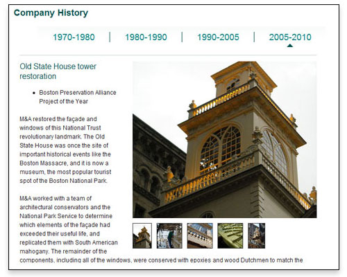 M&A Architectural Preservation, Inc. - Company History Page Design