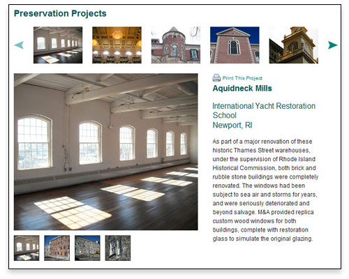 M&A Architectural Preservation, Inc. - Projects Page Design