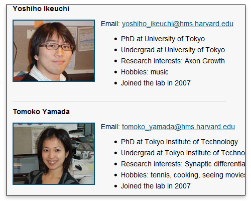The Bonni Lab - Lab Members Page Close-up