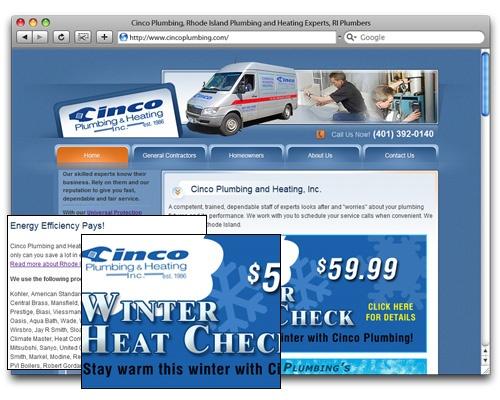 Cinco Plumbing & Heating, Inc. - Homepage Design