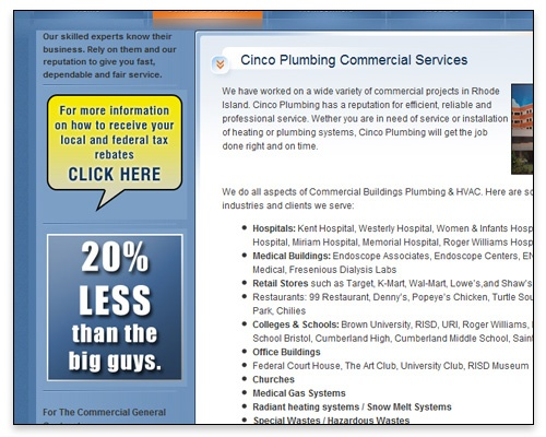 Cinco Plumbing & Heating, Inc. - Commercial Services Page Design
