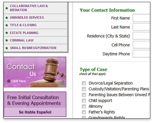 Clark Law Offices - Contact Page Design