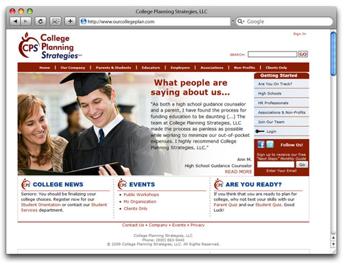 College Planning Strategies, LLC - Homepage Design
