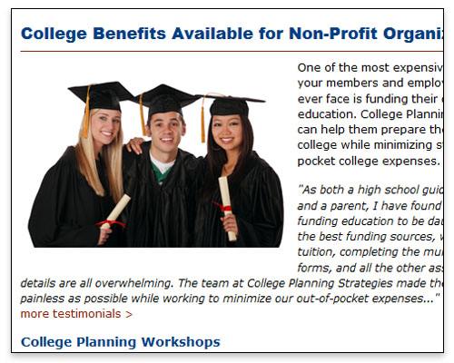 College Planning Strategies, LLC - Non-Profit Page Close-up