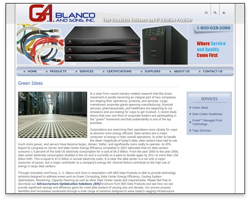 G.A. Blanco & Sons, Inc. - Green Ideas Page Design