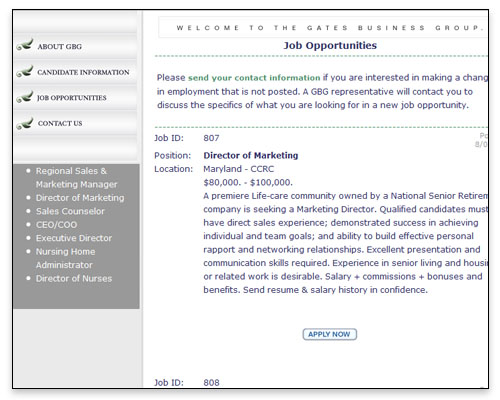 Gates Business Group - Job Opportunities Page Close-up