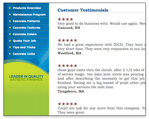 Icrete - Customer Testimonials Page Close-up