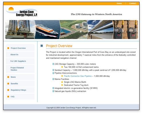 Jordan Cove Energy Project, L.P. - Overview Page Design