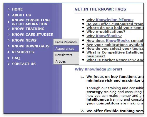 Knowledge inForm, Inc. - FAQ Page Close-up