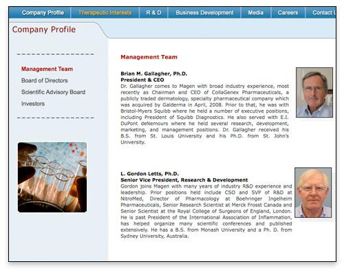Magen BioSciences - Company Profile Page Close-up - Boston Web Design