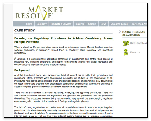 Market Resolve - Case Study Page Design