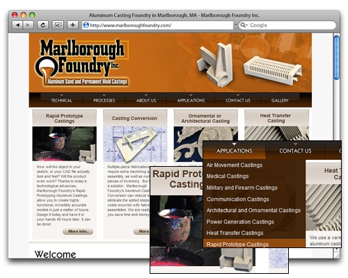 Marlborough Foundry, Inc. - Homepage Design