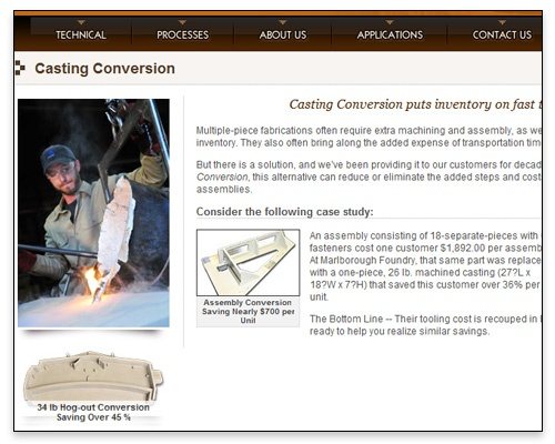 Marlborough Foundry, Inc. - Casting Conversion Page Design
