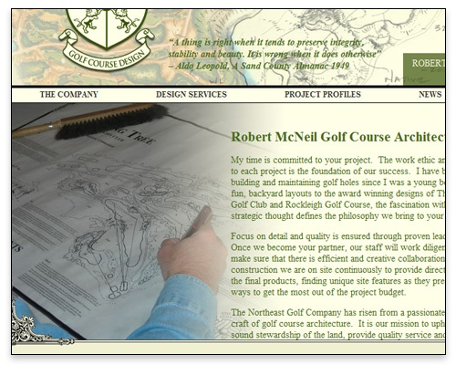 The Northeast Golf Company - About Page Design