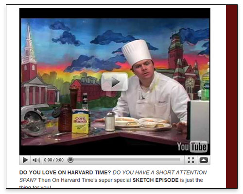 On Harvard Time - Video Page Sample