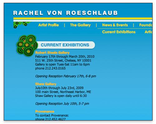 Rachel von Roeschlaub - Events Page Design