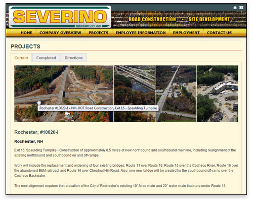 Severino Trucking - Projects Page Design