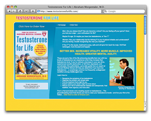 Testosterone for Life - Homepage Design