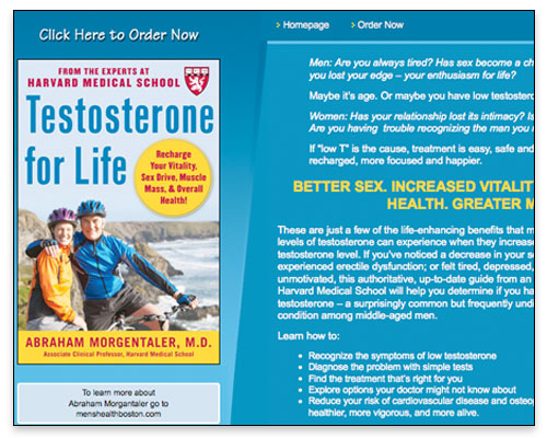Testosterone for Life - Homepage Close-up