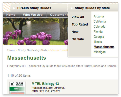 XAM Online - Category Page Close-up