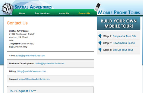 Spatial Adventures Contact Page
